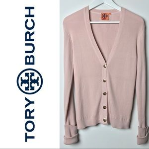 Tory Burch Simone Cardigan Blush Pink Logo Button